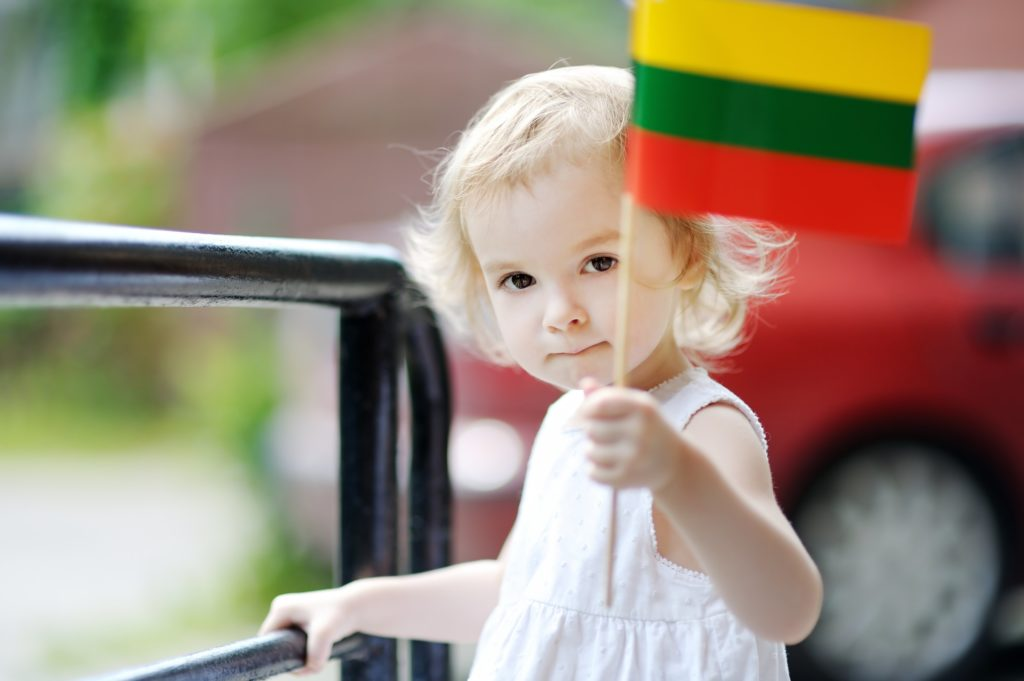 Adorable thoughtful toddler girl with Lithuanian flag